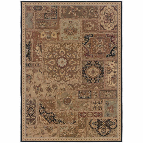 Oriental Weavers Nadira Beige Black Geometric Patchwork Traditional Rug