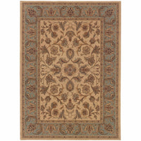Nadira Beige Blue Oriental Persian Traditional Rug - Free Shipping