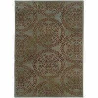 Nadira Blue Brown Floral  Transitional Rug - Free Shipping
