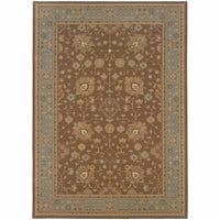 Nadira Tan Blue Oriental Persian Traditional Rug - Free Shipping