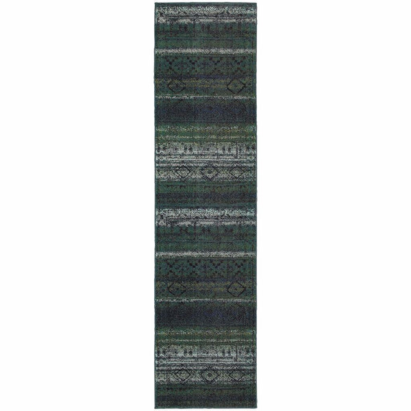 Woven - Nomad Green Blue Abstract  Contemporary Rug