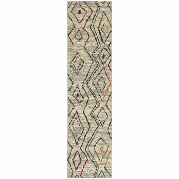 Woven - Nomad Ivory Multi Abstract  Contemporary Rug