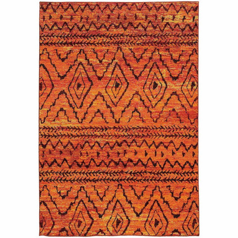 Nomad Orange Red Abstract  Contemporary Rug