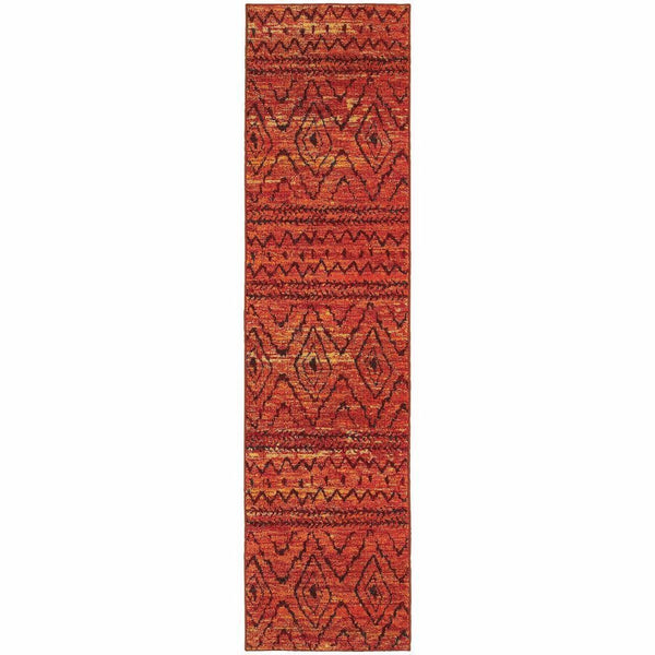 Woven - Nomad Orange Red Abstract  Contemporary Rug