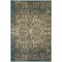 Pasha Beige Blue Floral Distressed Transitional Rug - Free Shipping
