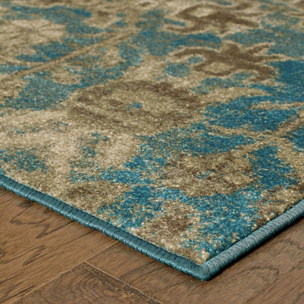 Woven - Pasha Beige Blue Floral Distressed Transitional Rug