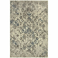 Pasha Beige Grey Botanical Distressed Transitional Rug - Free Shipping