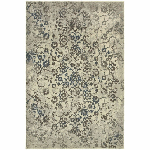 Oriental Weavers Pasha Beige Grey Botanical Distressed Transitional Rug