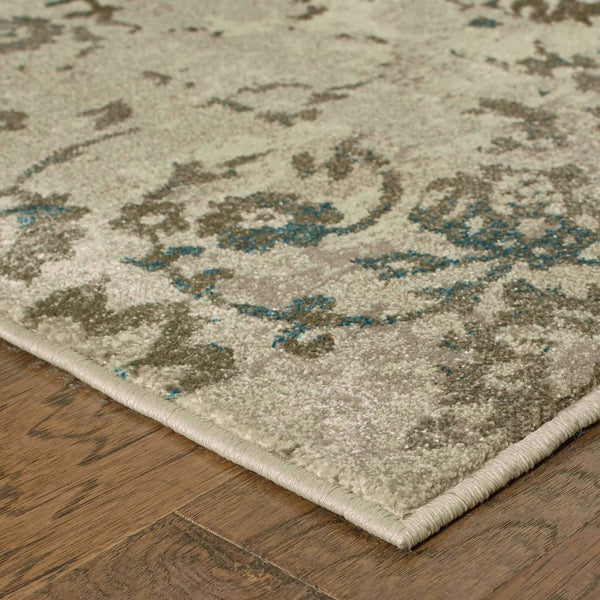 Woven - Pasha Beige Grey Botanical Distressed Transitional Rug