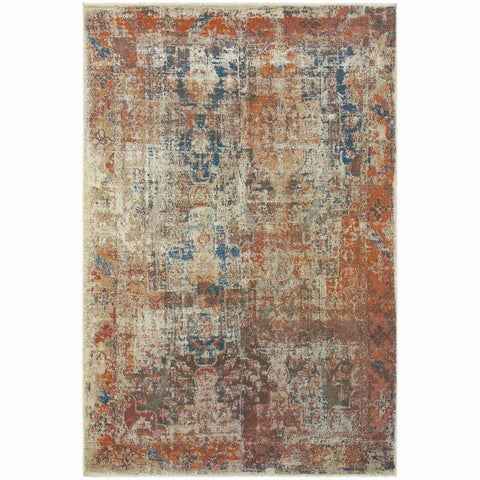 Pasha Beige Multi Distressed Abstract Contemporary Rug