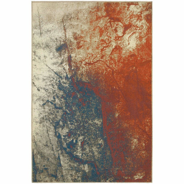 Pasha Beige Orange Abstract  Contemporary Rug - Free Shipping