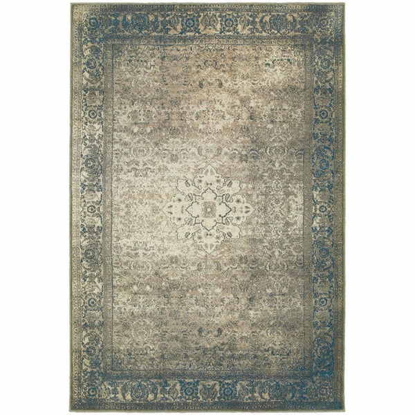 Pasha Blue Beige Distressed Medallion Traditional Rug - Free Shipping