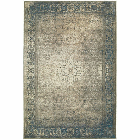 Pasha Blue Beige Distressed Medallion Traditional Rug