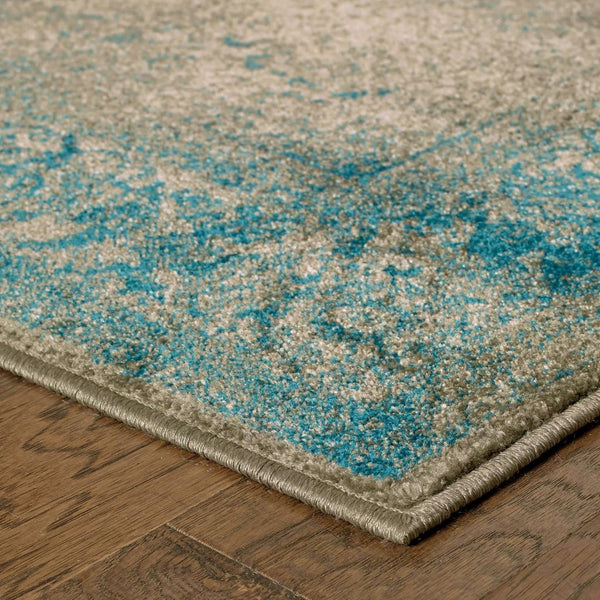 Woven - Pasha Blue Beige Distressed Medallion Traditional Rug