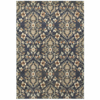Pasha Blue Brown Floral Lattice Casual Rug - Free Shipping
