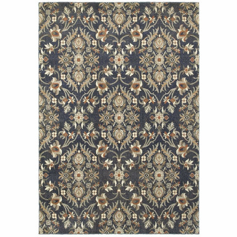 Pasha Blue Brown Floral Lattice Casual Rug