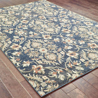 Woven - Pasha Blue Brown Floral Lattice Casual Rug