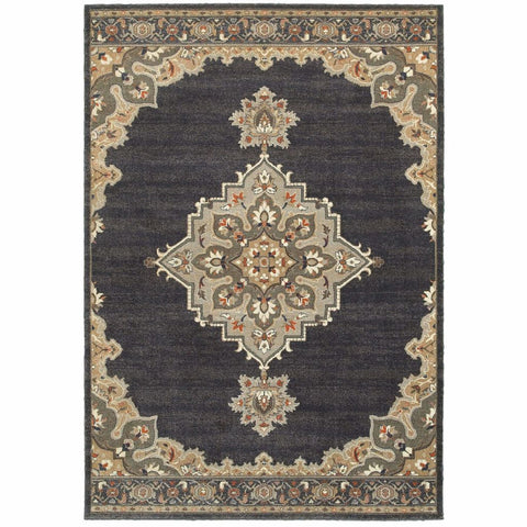 Pasha Blue Grey Oriental Medallion Traditional Rug