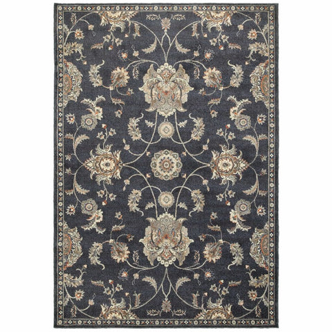 Pasha Blue Ivory Floral Oriental Casual Rug