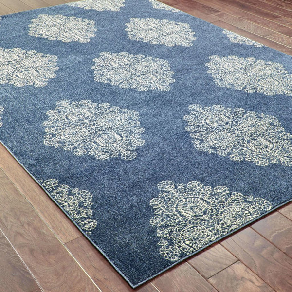 Woven - Pasha Blue Ivory Geometric Medallion Casual Rug