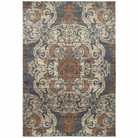 Pasha Blue Rust Oriental Medallion Casual Rug - Free Shipping