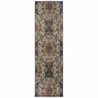 Woven - Pasha Blue Rust Oriental Medallion Casual Rug