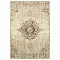 Pasha Ivory Brown Oriental Medallion Traditional Rug - Free Shipping