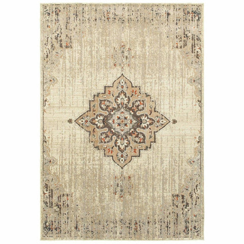 Pasha Ivory Brown Oriental Medallion Traditional Rug