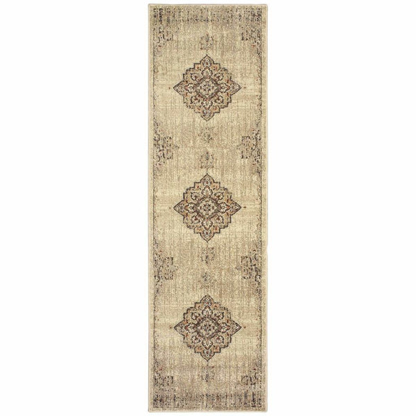 Woven - Pasha Ivory Brown Oriental Medallion Traditional Rug