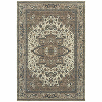 Pasha Ivory Grey Medallion Distressed Traditional Rug - Free Shipping