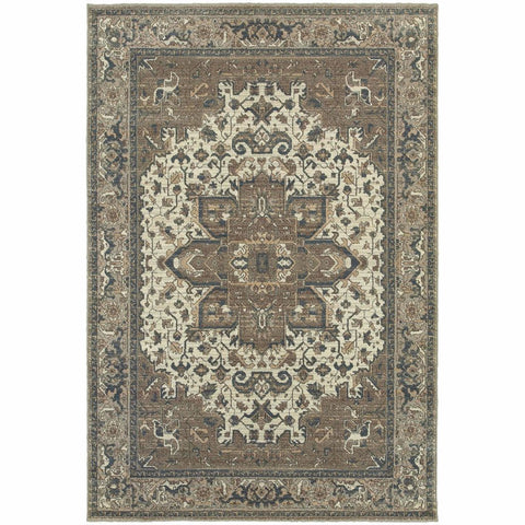 Pasha Ivory Grey Medallion Distressed Traditional Rug