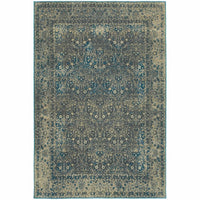 Pasha Navy Grey Distressed Oriental Traditional Rug - Free Shipping