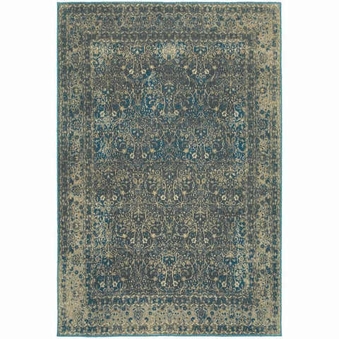 Pasha Navy Grey Distressed Oriental Traditional Rug