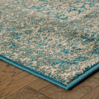 Woven - Pasha Navy Grey Distressed Oriental Traditional Rug