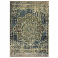 Raleigh Blue Ivory Oriental Distressed Casual Rug - Free Shipping