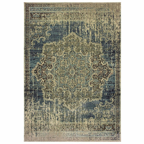 Oriental Weavers Raleigh Blue Ivory Oriental Distressed Casual Rug