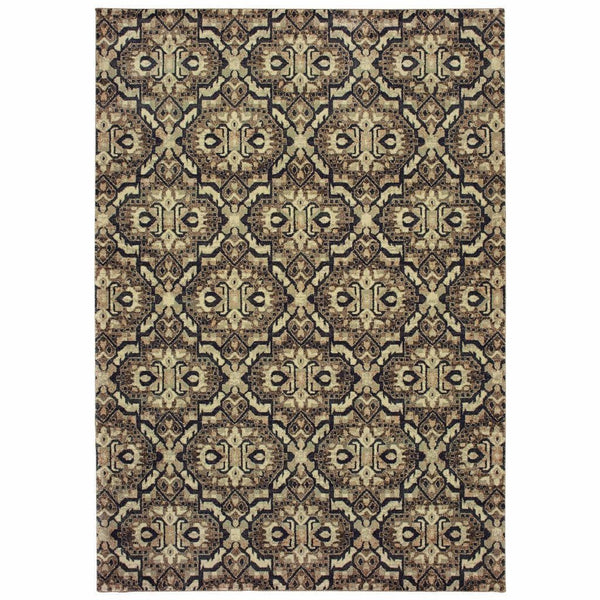 Raleigh Brown Navy Geometric Distressed Casual Rug - Free Shipping