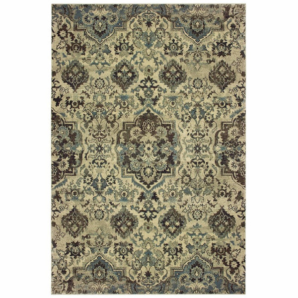 Raleigh Ivory Grey Oriental Tribal Traditional Rug - Free Shipping