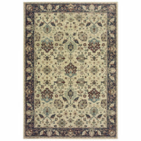 Raleigh Ivory Navy Oriental Distressed Traditional Rug - Free Shipping