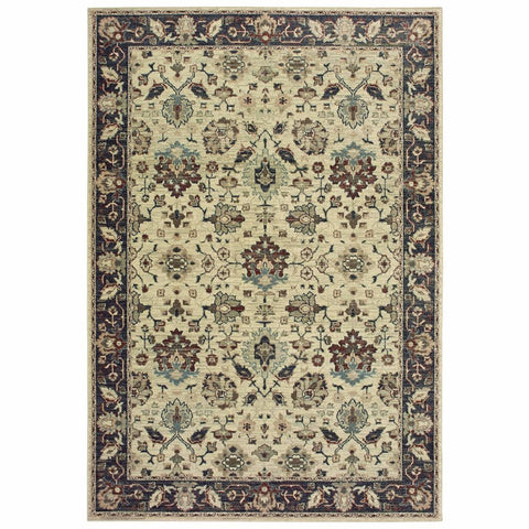 Raleigh Ivory Navy Oriental Distressed Traditional Rug
