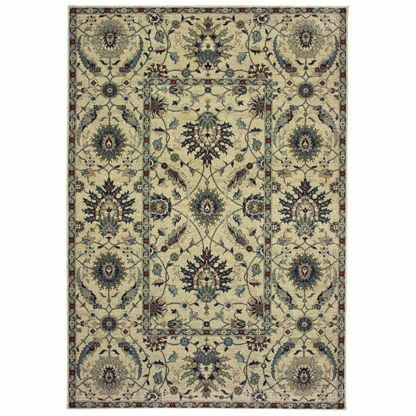 Raleigh Ivory Navy Oriental Floral Casual Rug - Free Shipping