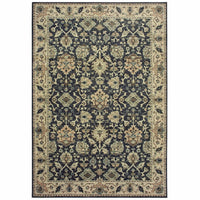 Raleigh Navy Ivory Oriental Distressed Traditional Rug - Free Shipping