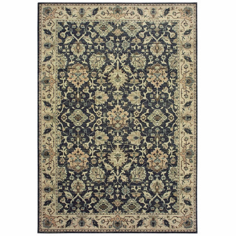 Raleigh Navy Ivory Oriental Distressed Traditional Rug