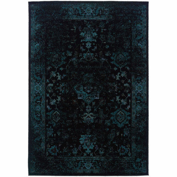 Revival Black Teal Oriental Overdyed Transitional Rug - Free Shipping