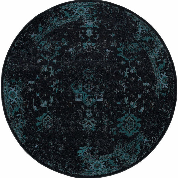 Woven - Revival Black Teal Oriental Overdyed Transitional Rug