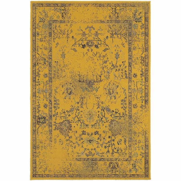 Revival Gold Grey Oriental Overdyed Traditional Rug - Free Shipping