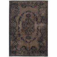 Revival Grey Black Oriental Overdyed Transitional Rug - Free Shipping