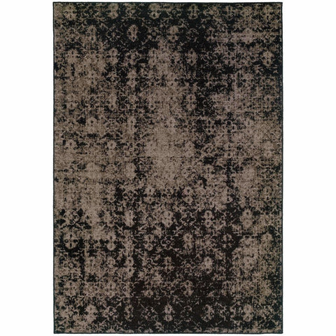 Revival Grey Black Oriental Overdyed Transitional Rug