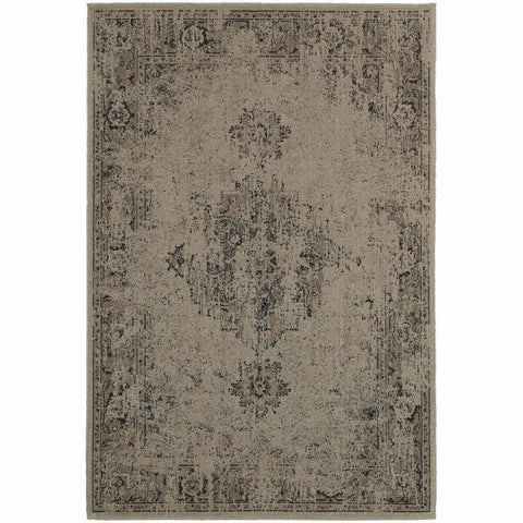 Oriental Weavers Revival Grey Charcoal Oriental Overdyed Traditional Rug