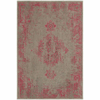 Revival Grey Pink Oriental Overdyed Traditional Rug - Free Shipping